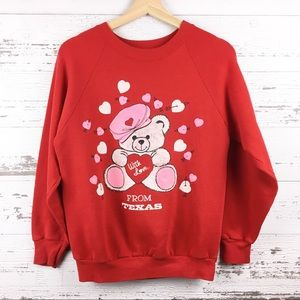 Vintage 90s From Texas Teddy Bear Red Sweatshirt